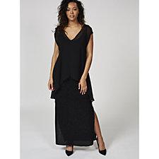 Live Unlimited London Sparkle Jersey Overlay Maxi Dress