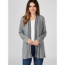 Dennis by Dennis Basso Sports Luxe Jersey Cardigan with Striped Trim