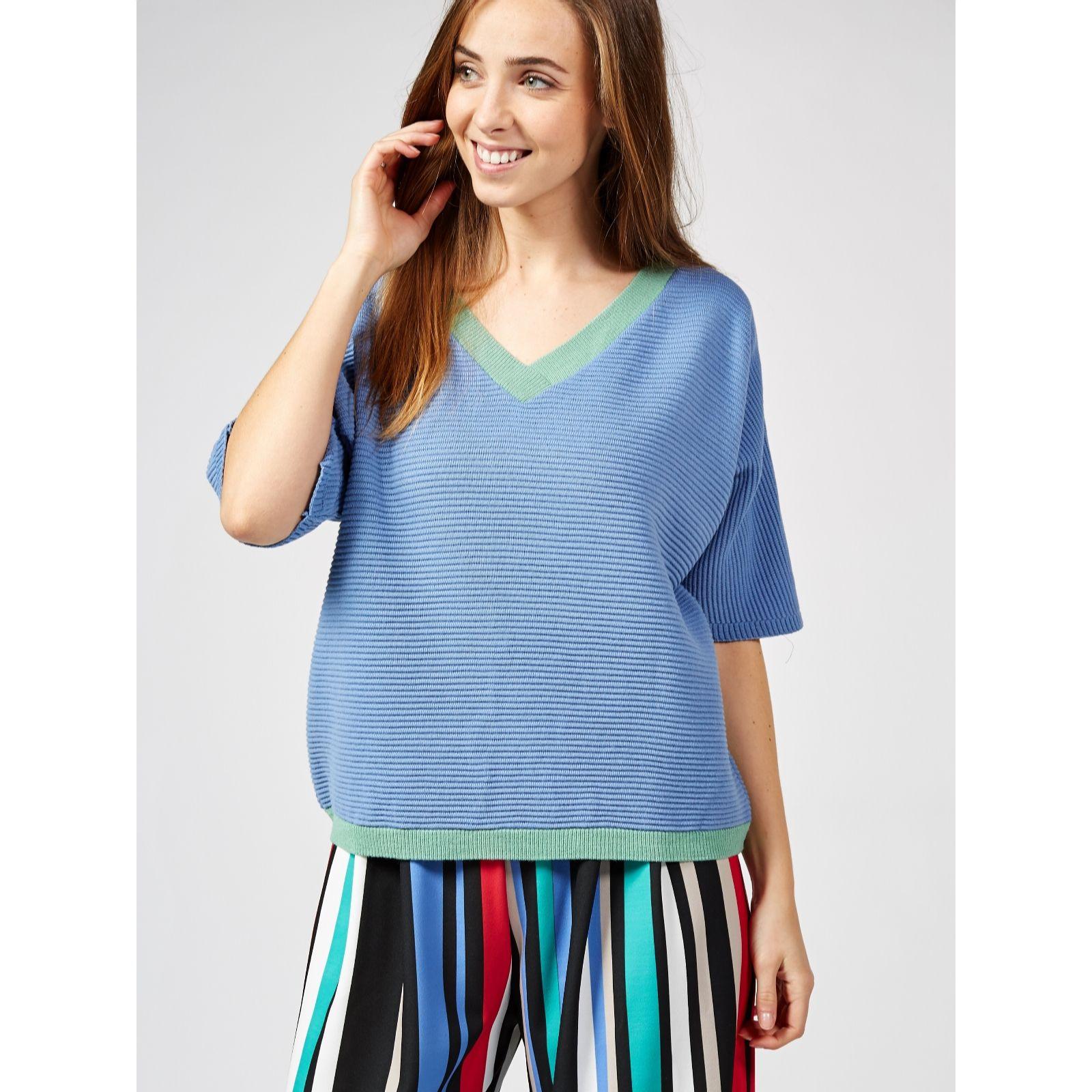255073be39250a Ben de Lisi Ripple Knit Contrast Trim Kimono Sleeve Sweater - QVC UK