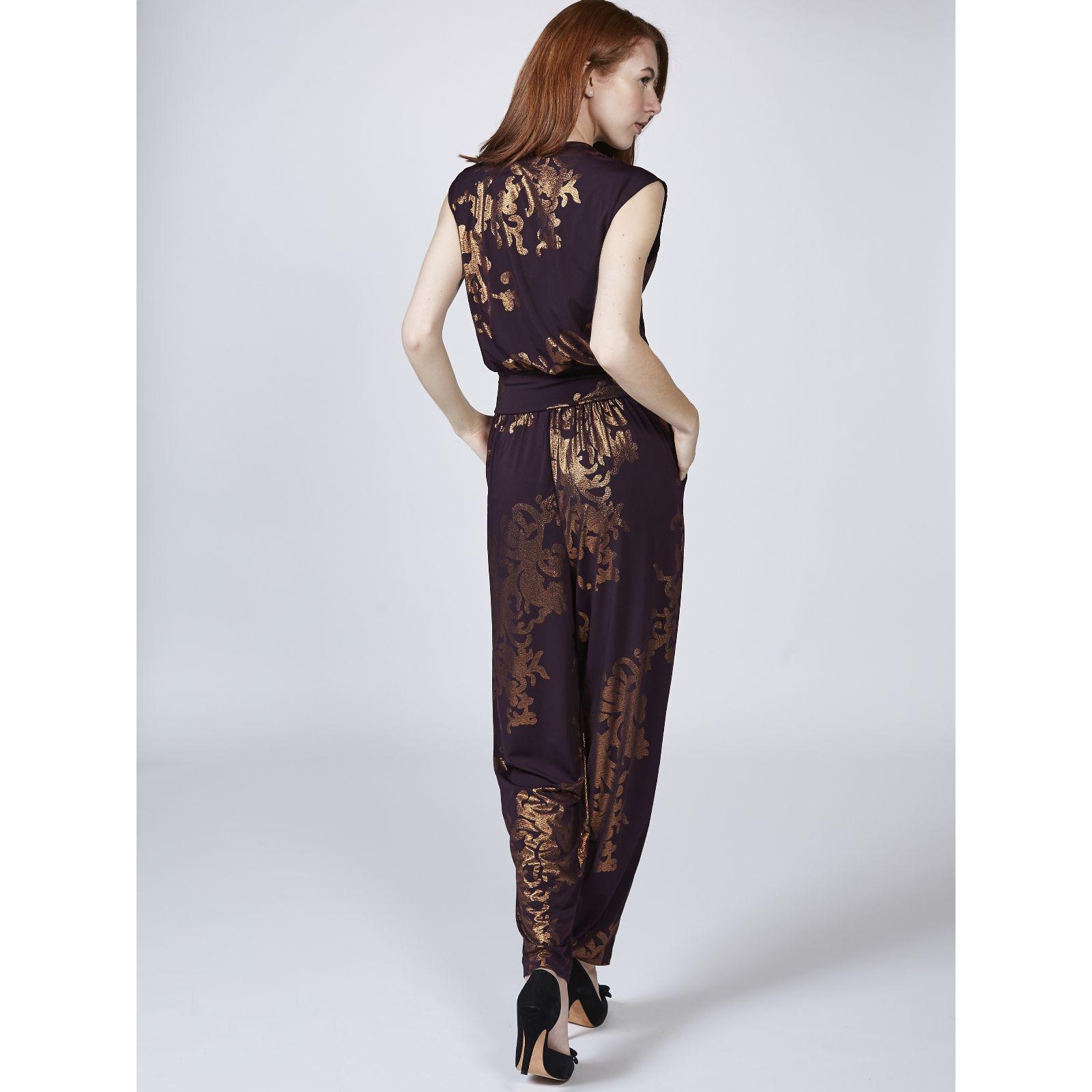 0262af6a08 Kim & Co Oriental Foil Brazil Jersey Cross Over Pocket Jumpsuit - Page 1 -  QVC UK