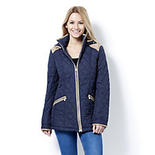 Centigrade Diamond Quilted Zip Front Jacket with Removable Hood