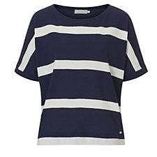 Betty & Co Short Sleeve Textured Striped Top