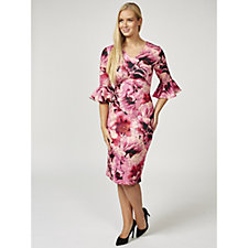 Ruth Langsford Floral Print Fluted Sleeve Zip Back Jersey Dress