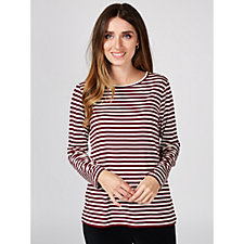 Dennis by Dennis Basso Striped Luxe Jersey Top