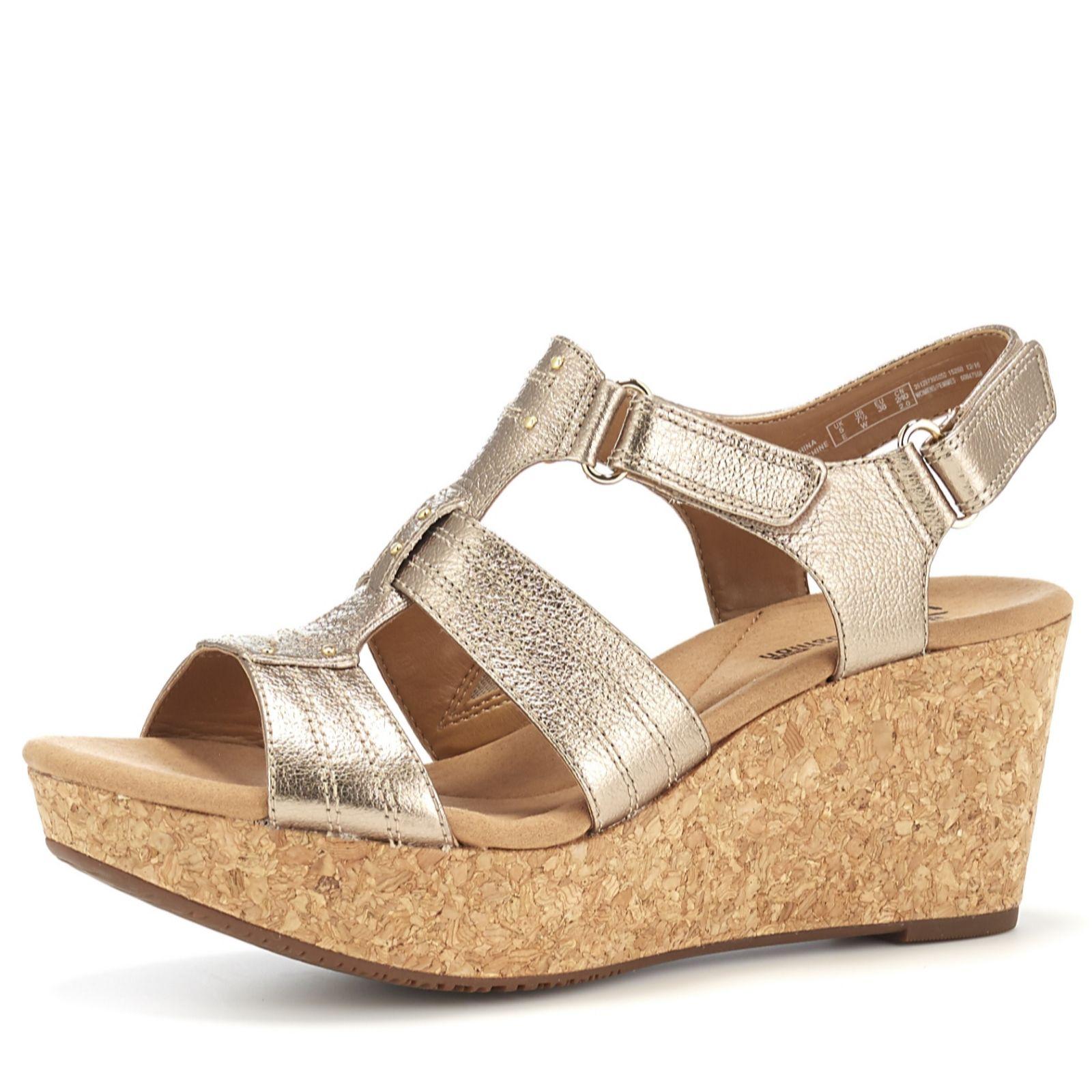 025318f9ea7 Clarks Annadel Orchid Cushion Soft Wedge Sandal Wide Fit - QVC UK