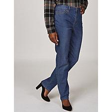 Stretch Denim Straight Leg Zip Front Jeans by Susan Graver