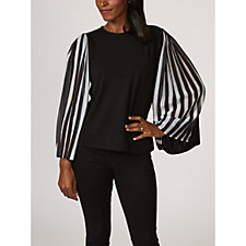 Andrew Yu Striped Pleated Sleeve Top