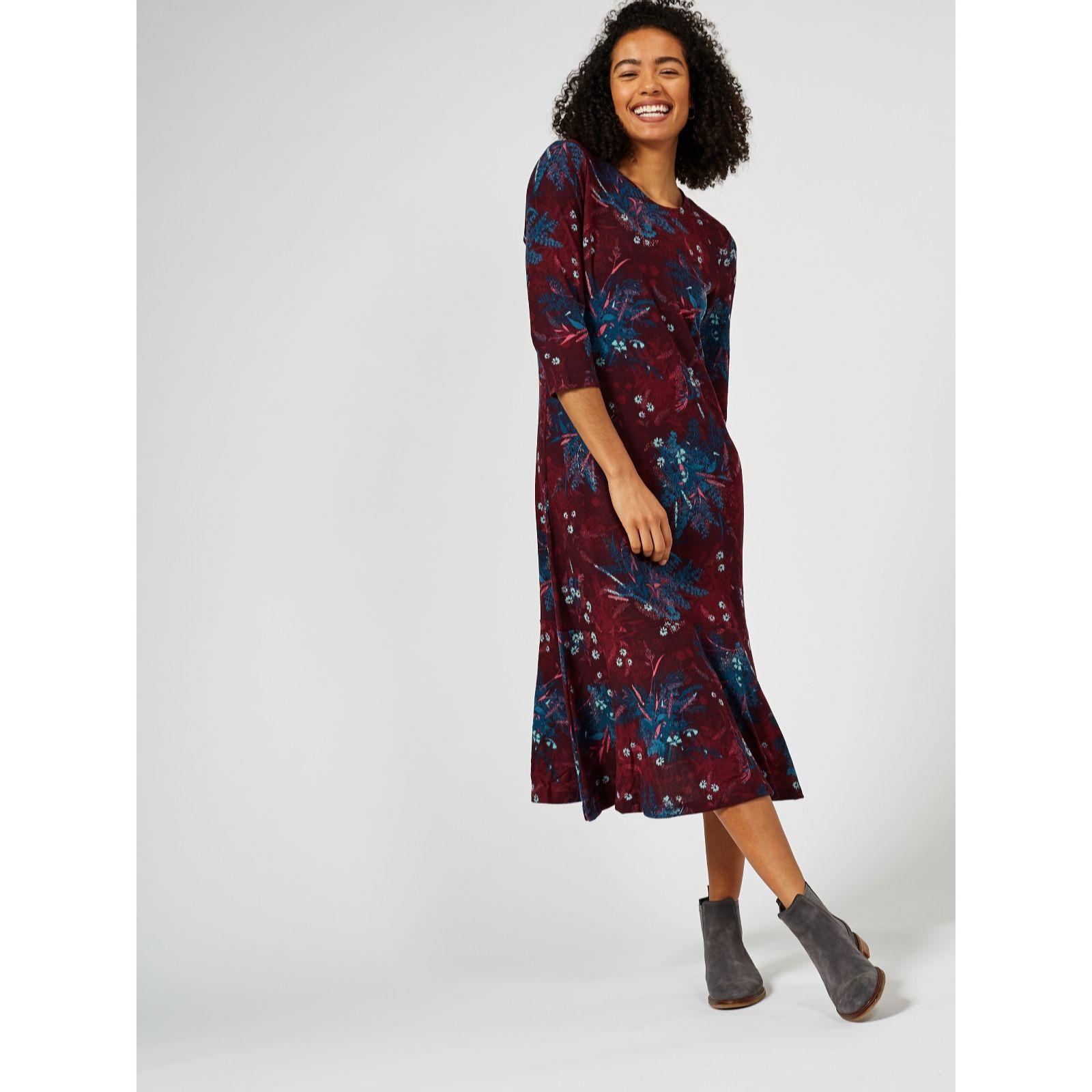 c849f5d6cf3 Denim   Co. Printed Brushed Heavenly Jersey Midi Dress - QVC UK