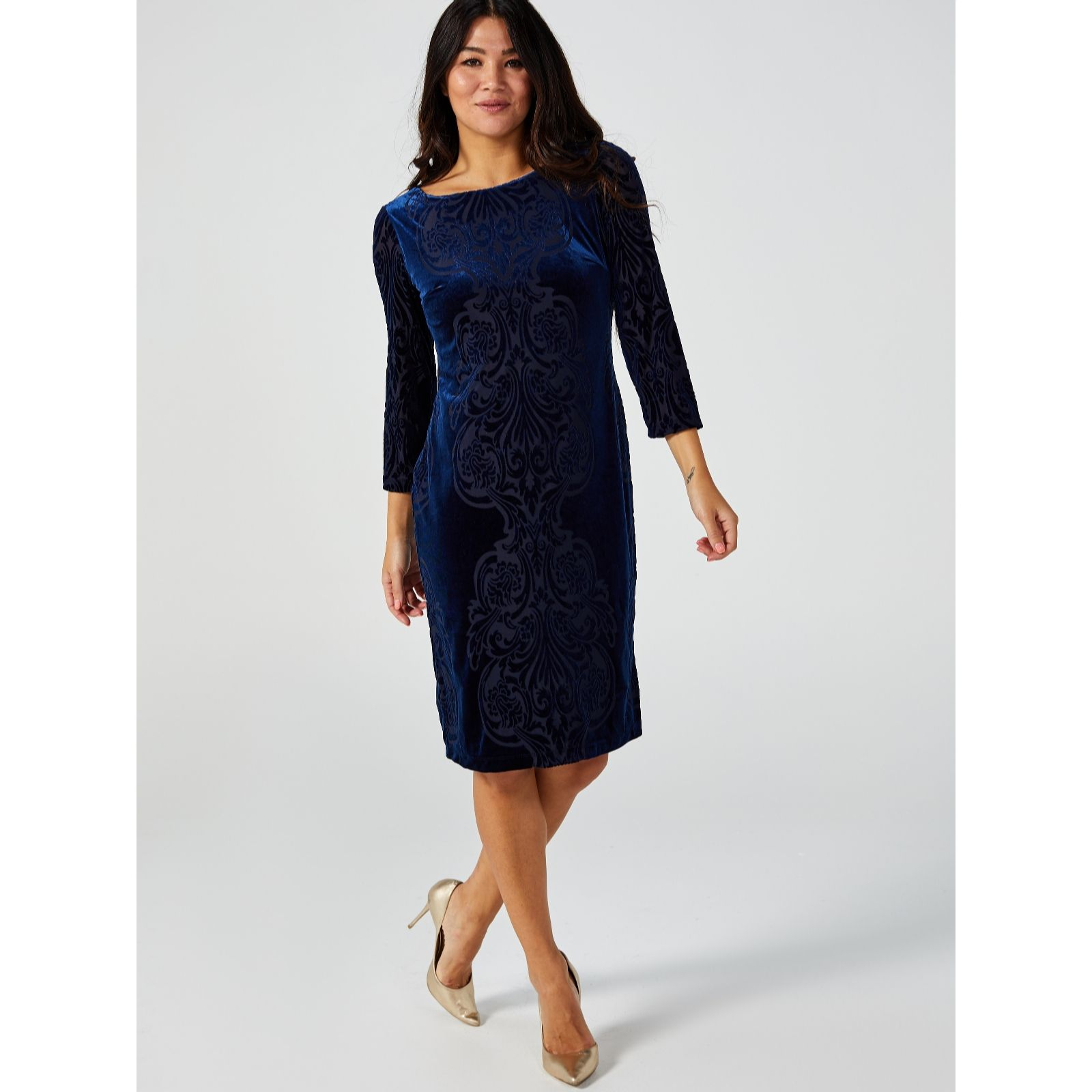 d5cea19c1e7bf Ronni Nicole 3/4 Sleeve Burnout Velvet Dress - QVC UK