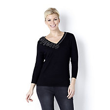 Marble Soft Touch V Neck Swirl Zip Trim 3/4 Sleeve Jumper with Studs
