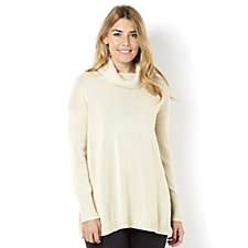 H by Halston Turtle Neck Knit Top with Open Side