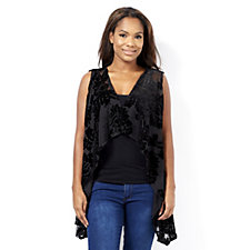 Join Clothes Waterfall Waistcoat with Velvet Detail