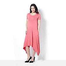 Short Sleeve Plain Trapeze Dress by Nina Leonard