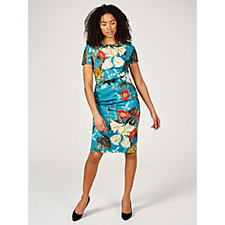 Alton Gray Tropical Print Jersey Midi Dress with Zip Back