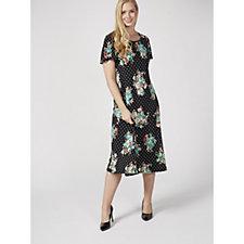 Kim & Co Printed Brazil Knit Angel Sleeve Midi Dress