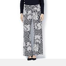 Printed Wide Leg Drawstring Waist Trousers by Nina Leonard