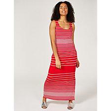 Alton Gray Striped Sleeveless Jersey Maxi Dress with Side Split Detail