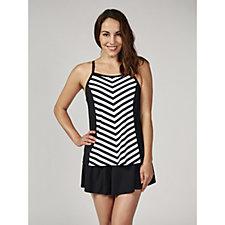 Denim & Co. Striped Tankini with Skirt