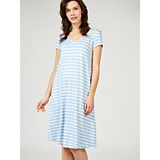 Ronni Nicole Stretch Striped V Neck Dress with Faux Pearl Detail