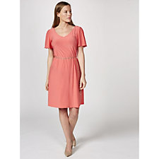 Coco Bianco Short Flutter Sleeve Dress with Chain Belt