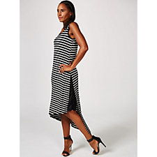 Sleeveless Striped Dress with Asymmetric Overlay Hem by Nina Leonard