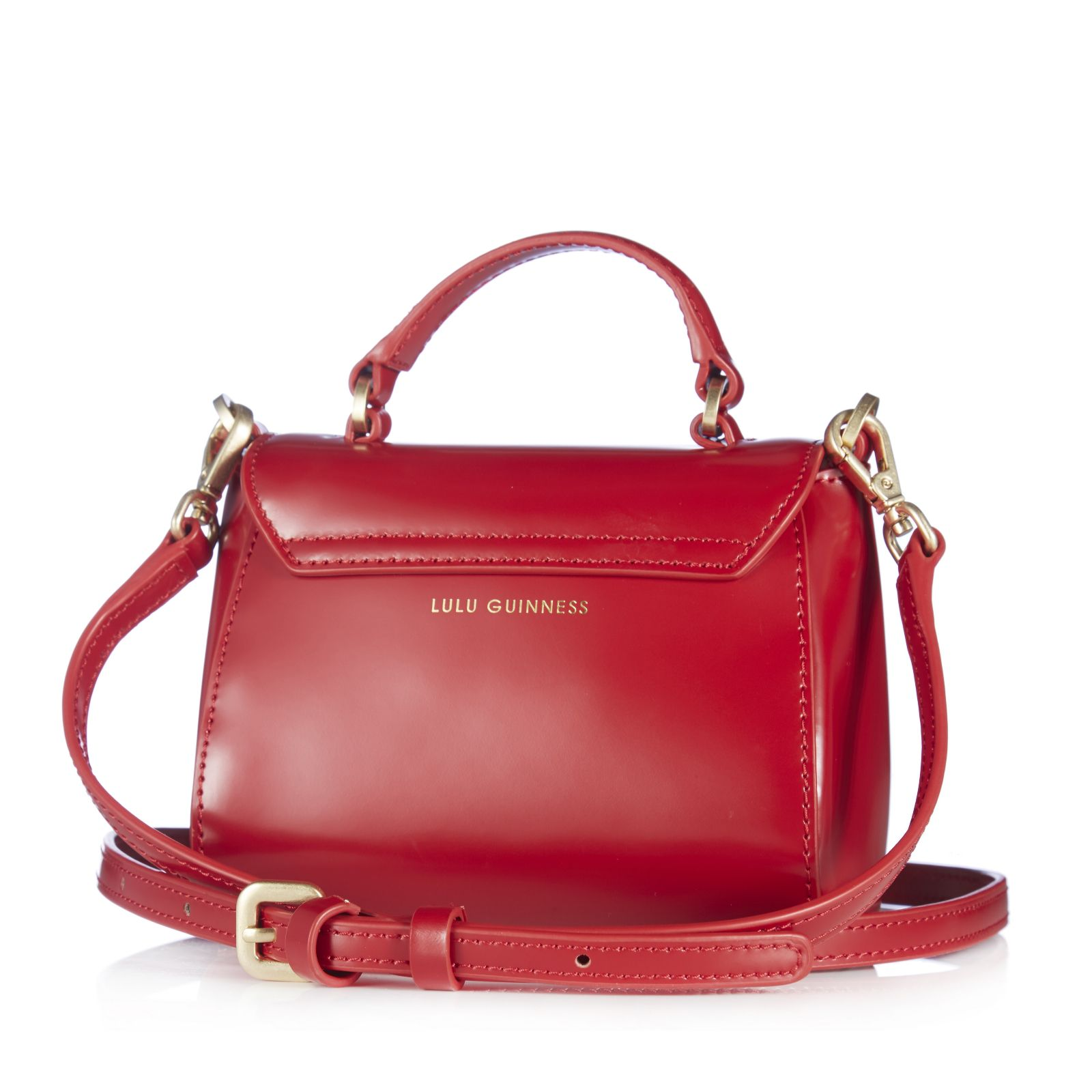 Lulu Guinness Izzy Mini Polished Leather Satchel Handbag Page 1 Qvc Uk