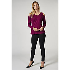 H by Halston Ponte Cold Shoulder V Neck Top