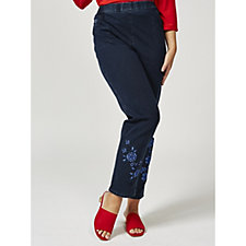 Quacker Factory DreamJeannes Regular Length Embroidered Trousers
