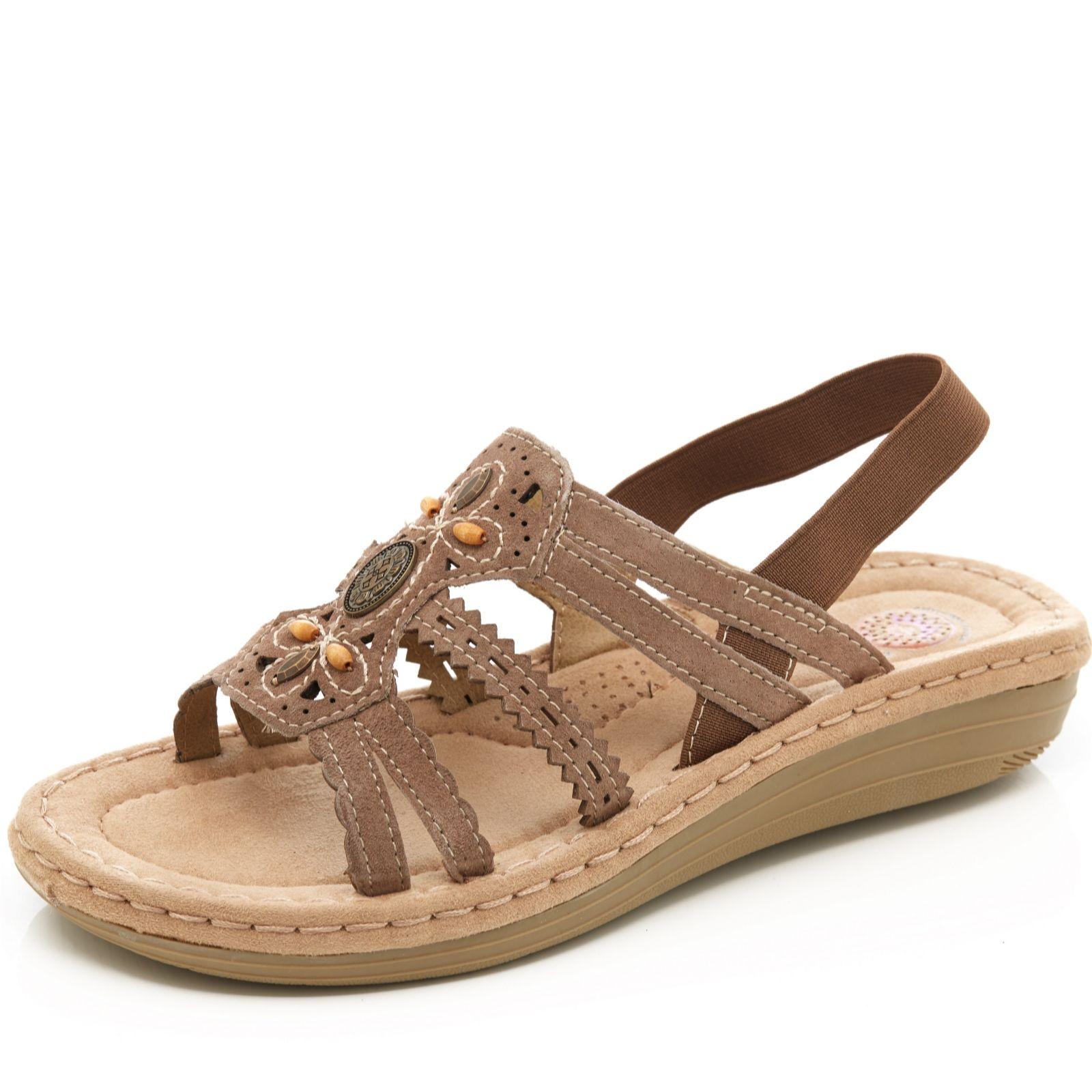 6bcea7f70fa8 Earth Spirit Portland Suede Wedge Sandal - QVC UK