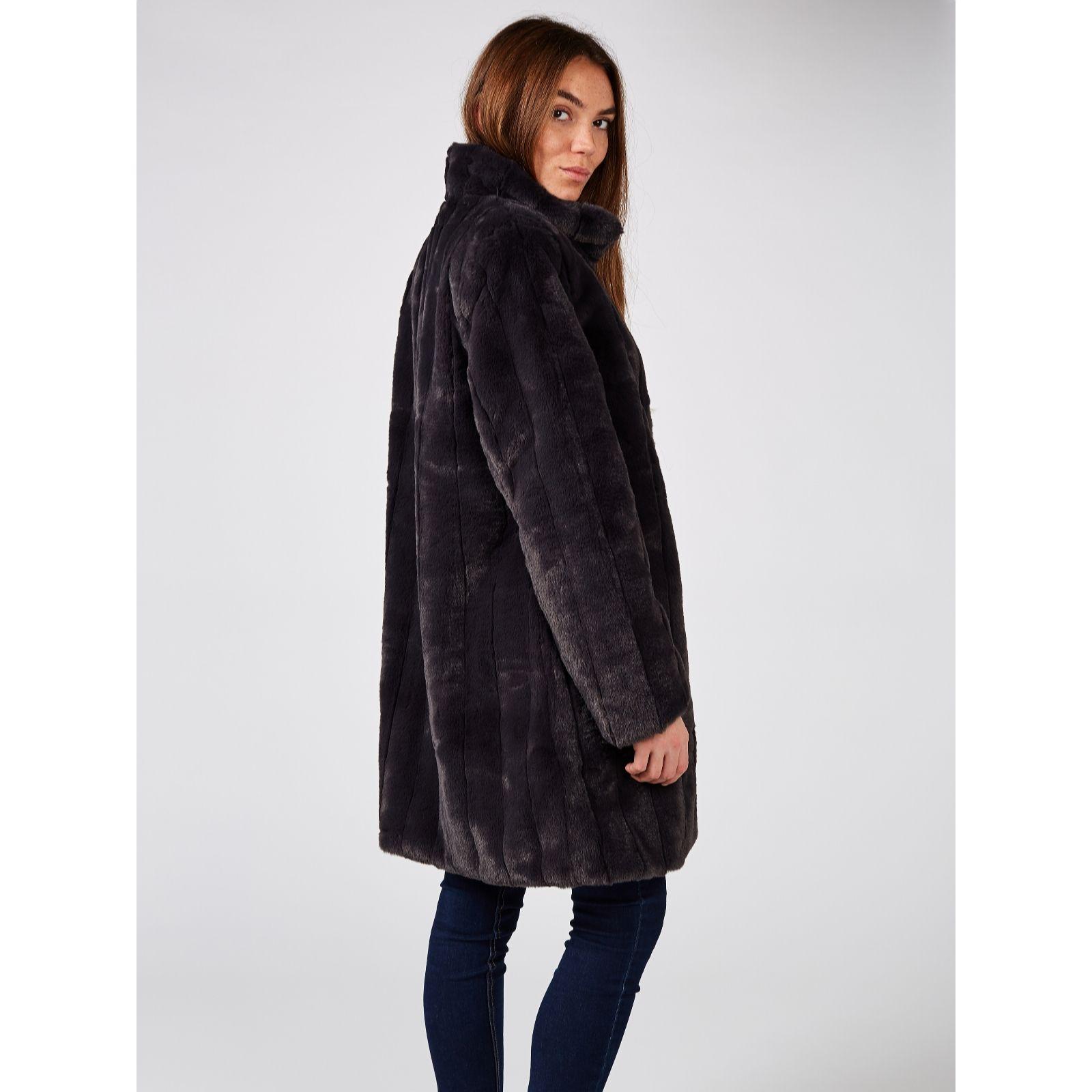 28ff387a36c3 Centigrade Long Faux Fur Coat - QVC UK