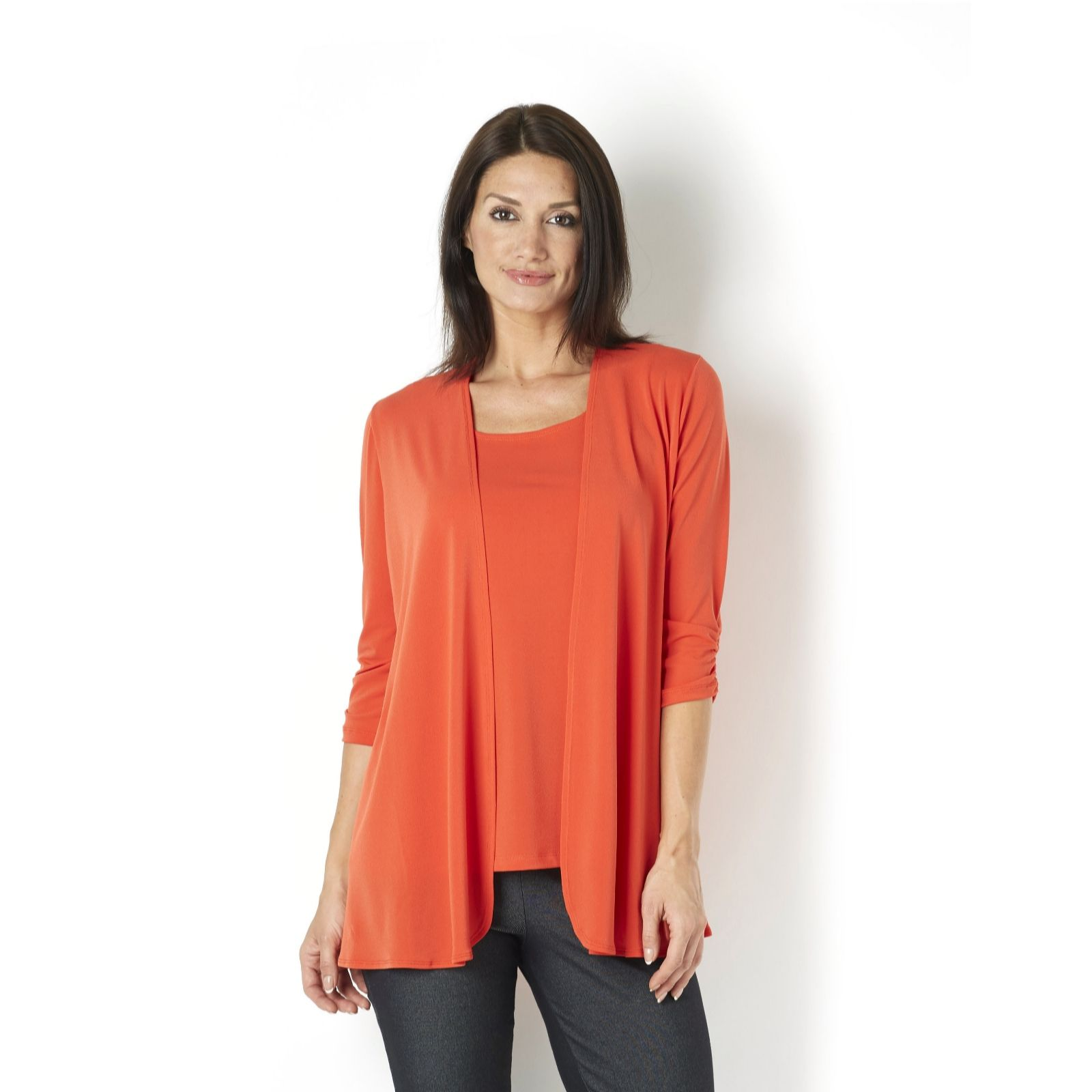 Kim & Co Stretch Crepe 3/4 Ruched Sleeve Edge to Edge Cardigan - Page 1 -  QVC UK