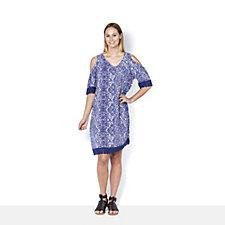 Together Printed Cold Shoulder Dress