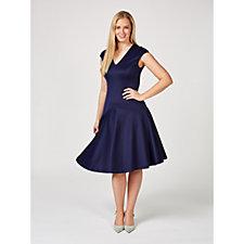 Alton Gray V Neck Fit & Flare Jersey Dress