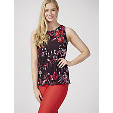 Kim & Co Floral Pleated Boudre Sleeveless Top