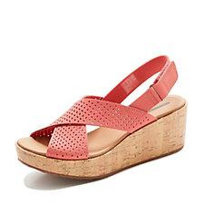Outlet Clarks Laser Cut Leather Wedge Sandal Wide Fit