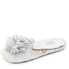 Pretty You London Vienna Mule Slipper with Floral Corsage
