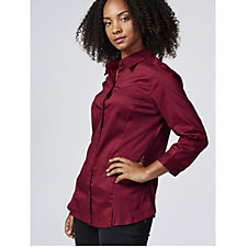 Zac & Rachel 3/4 Sleeve Stretch Woven Shirt with Jersey Side Panels