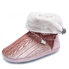 Pretty You London Vida Velvet Bootie Slippers