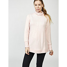 H by Halston Two Tone Fleece Back Funnel Neck Jumper with Rib Detail