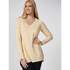 Long Sleeve Knitted Top with Dip Back Hem by Michele Hope