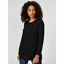 Lightweight Jersey Top with Double Layer Hem Back Dip by Michele Hope
