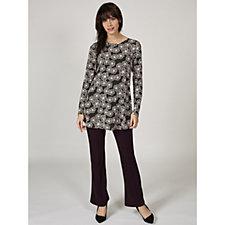 Kim & Co Geo Floral Brazil Knit Long Sleeve Flared Tunic