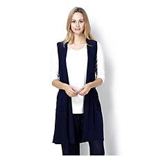 Longline Waistcoat with Pockets and Gathered Back by Nina Leonard