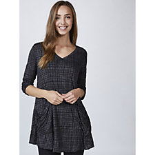 Yong Kim Long Sleeve Crinkle Burnout Tunic with Patch Pockets