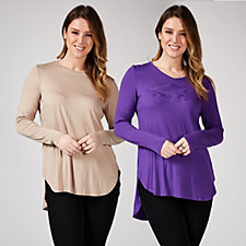 Antthony Designs Pack of 2 Long Sleeve Curved Hem Tops