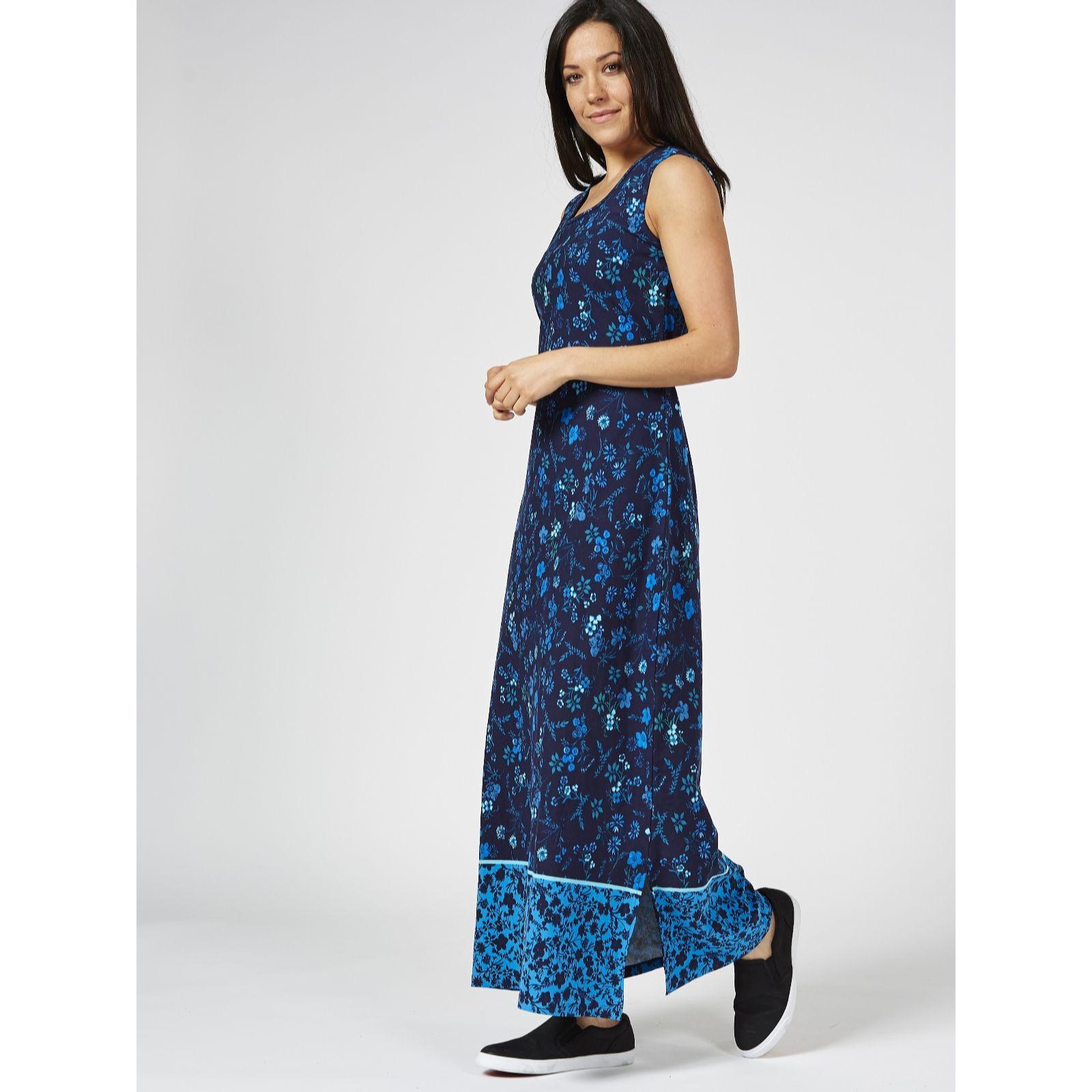 9b1f12a70b Denim   Co. Border Print Sleeveless Scoop Neck Maxi Dress - QVC UK