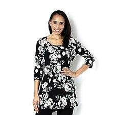 Kim & Co Apple Blossoms Brazil Knit Scoop Neck 3/4 Sleeve Tunic