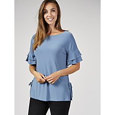 Ruffle Sleeve Top with Side Vents by Nina Leonard