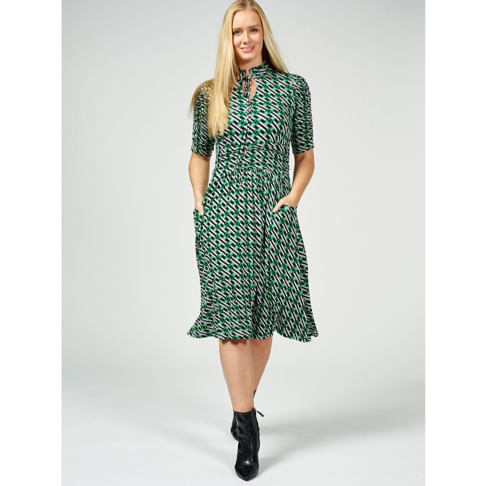 9557f5e679b Jolie Moi 3 4 Sleeve Printed Midi Dress - QVC UK