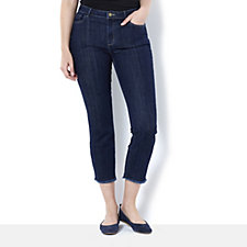 Logo by Lori Goldstein Straight Leg Frayed Hem 5 Pocket Jean
